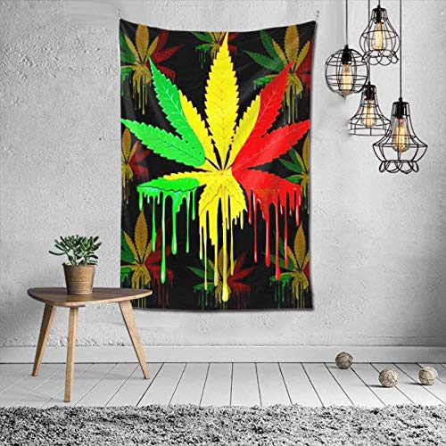 Hoja de marihuana Rasta Colores Goteo Pintura Tapiz para colgar en la pared Arte mural para colgar en la pared para dormitorio Sala de estar Dormitorio Decoración del hogar 60X40 pulgadas