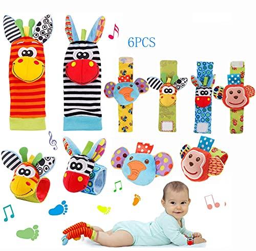 OMANIFER Calcetines con sonajero y buscador de pies para bebés, Juguetes de Aprendizaje sensorial para bebés, Juego de Juguetes educativos para el Desarrollo temprano para bebés y niños (6 Piezas)