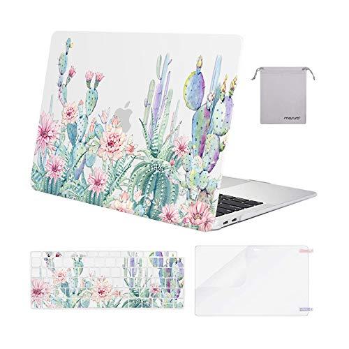 MOSISO Hülle Kompatibel mit 2020 2019 2018 MacBook Air 13 A2337 M1 A2179 A1932,Plastik Koffer&Tastaturschutz&Displayschutz&Lagertasche Kompatibel mit Mac Air 13,Klar Basis Kaktus