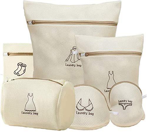 Paquete de 6 bolsas de lavandería de malla para delicados,bolsa de lavado de lencería de nido de abeja con cremallera,bolsa de lavadora para blusa,calcetería,medias,sujetador, lencería, ropa interior