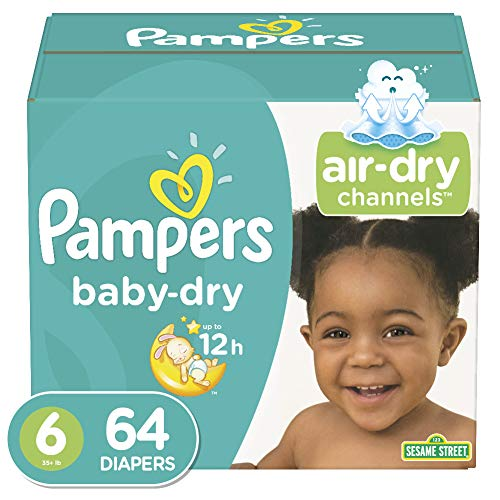 Price comparison product image Diapers Size 6,  64 Count - Pampers Baby Dry Disposable Baby Diapers,  Super Pack