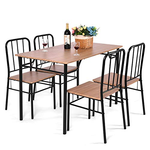 Giantex 5 Piece Dining Set Table And 4 Chairs Metal Wood Home Kitchen Modern Furniture Buy Online In Aruba At Desertcart Productid 39709696