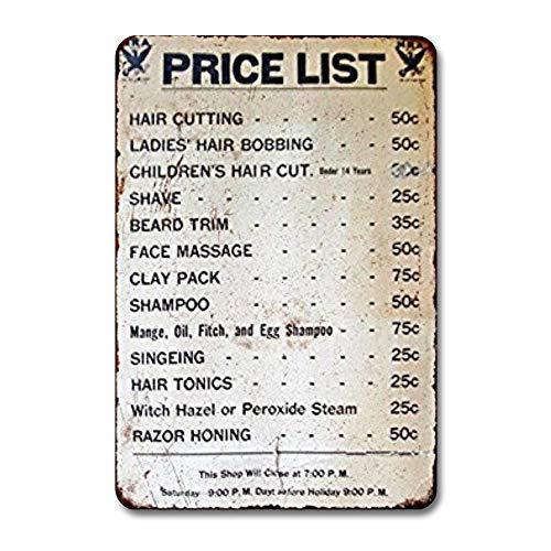 None Brand 1950er Barber Shop Preisliste Vintage Reproduktion Metallschild, Retro Straßenschild, Rustikale Männerhöhle Garten, Wandkunst, Küchendekoration