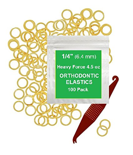 1/4 Inch Orthodontic Elastic Rubber Bands, 100 Pack, Natural, Heavy 4.5 ounce Small Rubberbands Dreadlocks Hair Braids Fix Tooth Gap, Free Elastic Placer for Braces