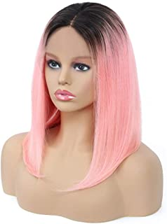 Remeehi Short Straight Bob Full Head Wigs None Lace Full Head Wig For Women 1b/Pink 8inch