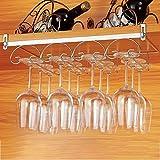 Portacopas de Metal Bar o Restaurante sostiene Copas de Vino y Copas de Cristal en la Cocina Searchyou Soporte para Copas de Vino con 3 rieles