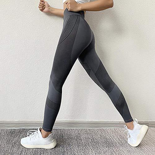 Pantalon Leggings Mujer Leggings para Mujer, Cintura Alta, Caderas, Mallas De Gimnasio, Pantalones Deportivos Elásticos De Secado Rápido, Pantalones Deportivos M Gris