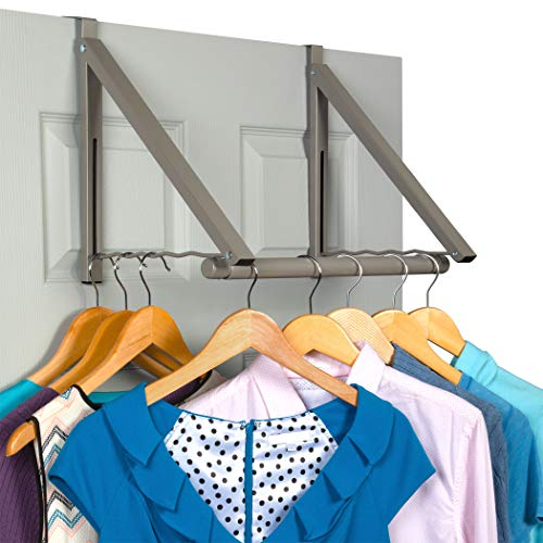 Over The Door Closet Valet - Double Storage Hooks - Expandable and Collapsible Hanging Rack Organizer Bracket Perfect for Clothes and Towels Ideal for Bathrooms, Dorm Rooms, Condos & Apartments