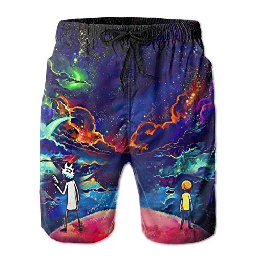 URTEOM Ri-ck and Mor-ty Men's Swim Trunks Quick Dry Board Shorts, Breathable Beach Swimming Shorts with Mesh Lining Swimwear Anime Bathing Suits for Running Vacation, M