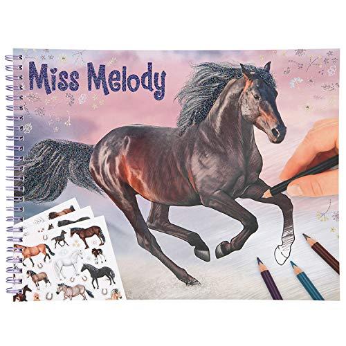 Depesche 11458 Miss Melody-Libro, 36 diseños de Caballos de ensueño para Colorear y Pegar, Incluye 3 Hojas con Pegatinas, Color carbón
