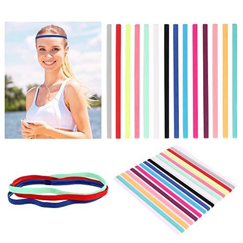 fanshiontide 14 Stück Sport Haarband rutschfest Sport Stirnband Slim Elastische Sport Stirnbänder Stirn Schweißband Haarbänder für Fussball Yoga Tennis und Golf