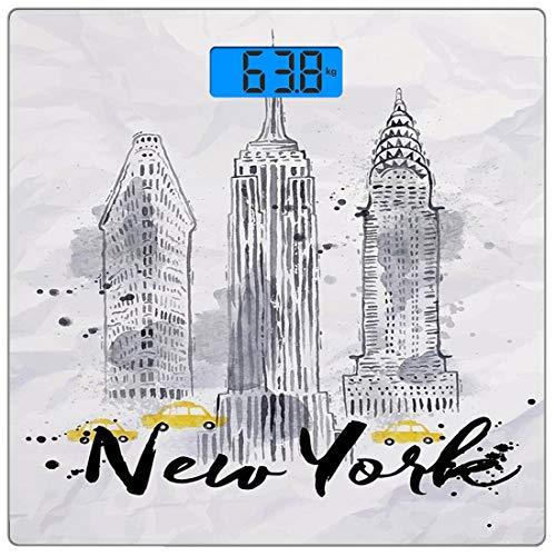 Digitale Präzisionswaage für das Körpergewicht Platz Aquarell Ultra dünne ausgeglichenes Glas-Badezimmerwaage-genaue Gewichts-Maße,Wolkenkratzer Empire State Building alte Wunder der amerikanischen Ar