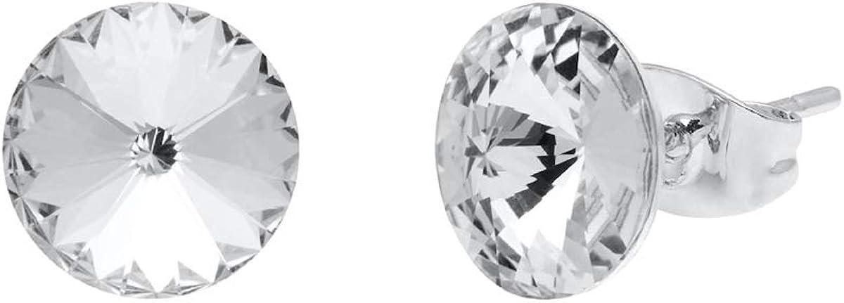 Aura Rhodium Plated Stud Earrings With Genuine Swarovski Crystals