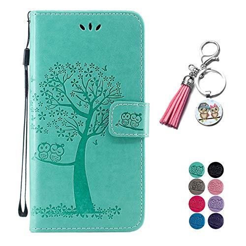 LA-Otter Kompatibel für Samsung Galaxy M20 Hülle Eule Grün Leder Wallet Cover Tasche Handyhüllen mit Kartenfach Schutzhülle Flip Case