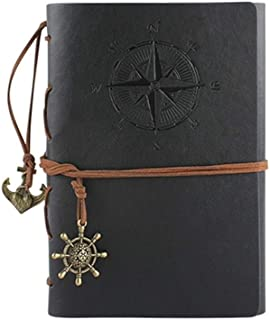 Notebooks Classic Vintage Pirate Ship Notebook Imported Faux Leather Soft Copybook Diary Office,School (Color : Black)