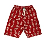 Lazy One Pajama Shorts for Men, Men's Separate Bottoms, Cotton Loungewear, Crustacean, Animal, Ocean (Lobster, Small)