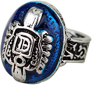 XCFS Unisex Antique Silver Plated Engraved Vampire Diaries Merchandise Band Ring Damon Salvatore Blue Stone Pattern Souven...