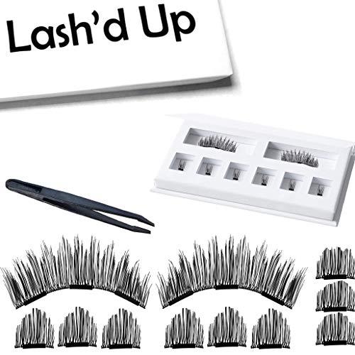Lash'd Up Magnetic Eyelashes The Originals (No Eyeliner Needed) Full Eyes Lengthening Grade A+ Silk [No Glue] 3 Magnets Reusable False Lashes   Natural Lengthening
