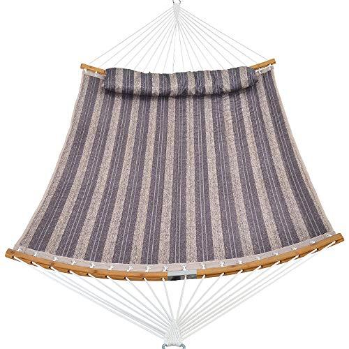 Patio Watcher Hängematte aus gestepptem Stoff mit gebogener Stange aus Bambus und abnehmbarem Kissen, Doppel-Hängematte, perfekt für Terrasse und Hof Graue Streifen