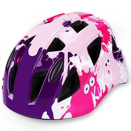 KUYOU Kids Bike Helmet,Child Multi-Sport Safety Cycling Skating Scooter Helmets for Toddler Kids Ages 3-8 Boys Girls (Pink)