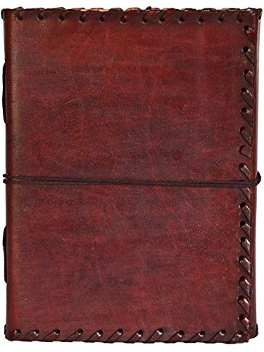 INDIARY Genuine Buffalo Leather Writing Journal With Strap closure and Handmade Paper - 7x5 Inch Simple And Elegant - EXPEDITION