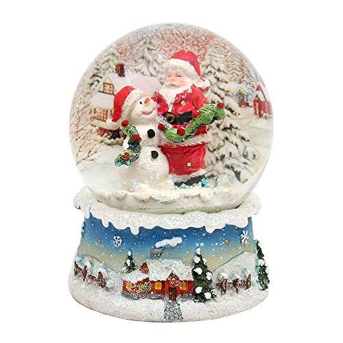 Dekohelden24 Wunderbare Schneekugel, Santa und Schneemann, Ø 6,5 cm