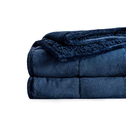 BUZIO Sherpa Fleece Weighted Blanket 15 lbs for Adults Now $26.40 (Was $66)