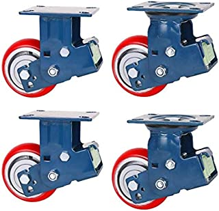 Heavy Duty wielen, 5/6/8 inch, dubbele veer, schokdemper, rood, zeer elastisch, PU, ijzerkern, eenvoudig draagvermogen 35...