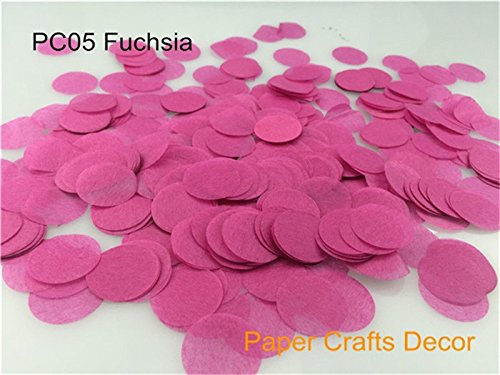 Sopeace 1 inch(2.5cm) Round Tissue Paper Confetti Round Tissue Paper Confetti Wedding Party Table Decorations Balloon Kit, 30g (Fuchsia)