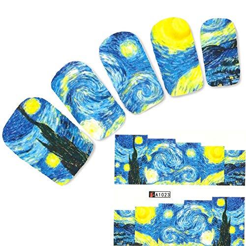 JUSTFOX - Tattoo Nail Art schilderij handgeschilderd olieschilderij sticker nagel sticker nagels voet water Decal