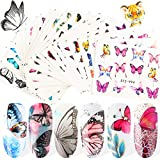 30 Sheets Butterfly Nail Art Stickers Water Transfer Butterfly Nail Accessories Decals Colorful Flower Butterfly Design Manicure Tips Foil Sticker for Women Nails Art Decorations Daily Beauty Decor