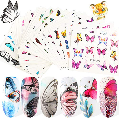 30 hojas de mariposas arte pegatinas de transferencia de agua mariposa accesorios de uñas pegatinas colorido flor mariposa diseño manicura consejos hoja pegatinas para mujeres uñas arte decoración