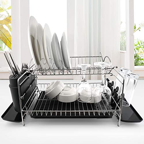 Dish Drying Rack GTING 2 Tier Dish Rack with Drainboard Dish Drainer with Utensil Holder and Cup Holder Stainless Steel Dish Rack Large Capacity For Kitchen Countertop Sink Side Sliver