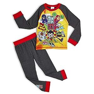 Teen Titans Go! Pijama para Niños Invierno, con Superhéroes Beast Boy Cyborg Starfire Robin Raven, Ropa de Dormir con…