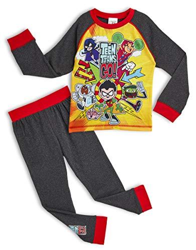 Teen Titans Go! Pijama para Niños Invierno, con Superhéroes Beast Boy Cyborg Starfire Robin Raven, Ropa de Dormir con Camiseta de Manga Larga, Regalo para Niños y Niñas 4-10 años (11-12 Años)