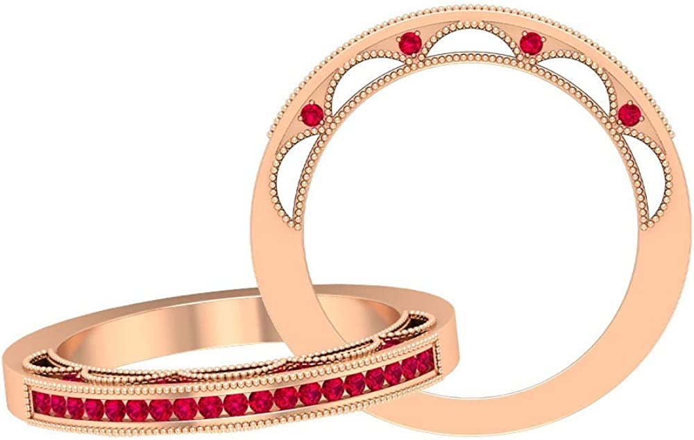 Solid Gold Beaded Engraved Anniversary Band Ring, Unique 1/4 CT Round Shaped Ruby Eternity Band, Red Gemstone Wedding Band Ring, 14K Gold