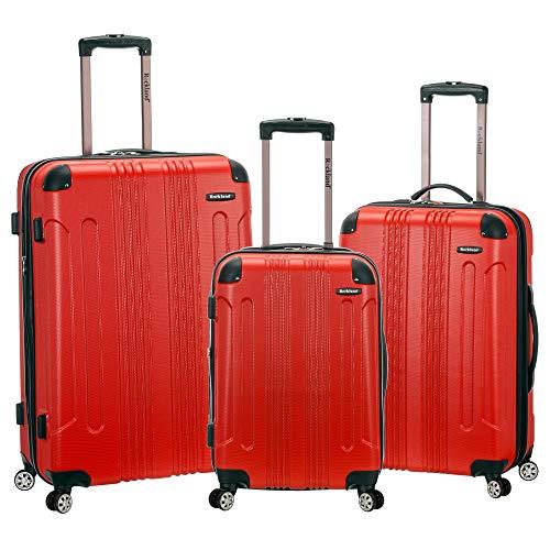 Rockland London Hardside Spinner Wheel Luggage, Red, 3-Piece Set (20/24/28)