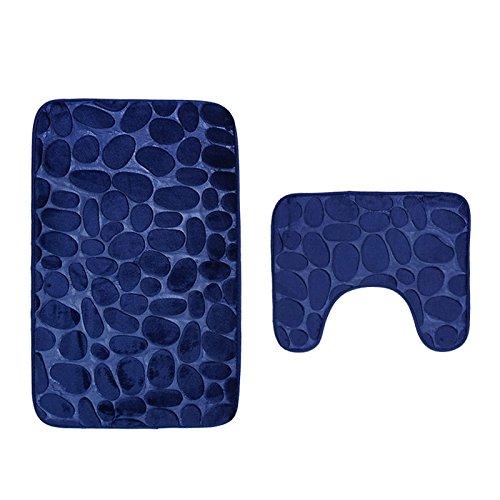 Pauwer Badteppich Set 2 teilig Waschbar rutschfest Badematten-Set Badvorleger und WC Teppich für Badezimmer 80 x 50 cm,Blau