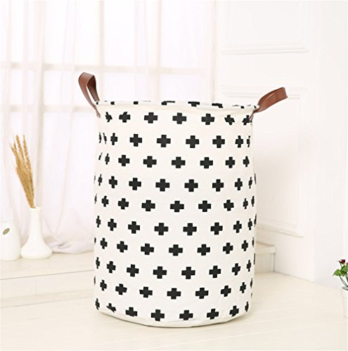 Laundry Storage Bin Collapsible Waterproof Fabric Laundry Hamper with Durable Leather Handle Foldable Clothes Basket Folding Washing Bag Bathroom for Toy BinsGift Baskets BedroomBaby Nursery