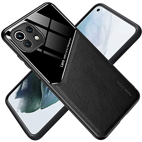 ALAMO Hülle Kompatibel Xiaomi MI 11 Lite, Premium Glas PU Leder Hybrid Stoßfest Hülle Cover Magnetische Funktion - Schwarz