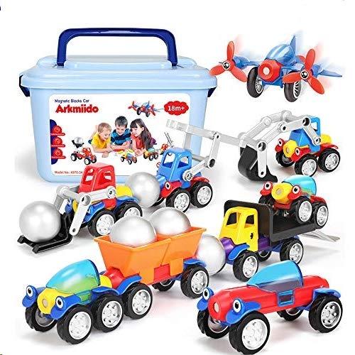 Arkmiido Bloques de Construcción Magnéticos con Caja de Almacenamiento Juguete,46 Set Regalos educativos creativos para niños Niños Grils