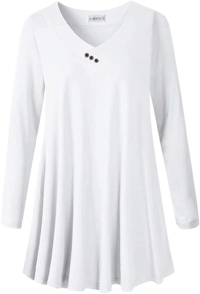 LARACE Women Plus Size Tunic Tops Long Sleeve V Neck Blouse Loose Swing Basic Flowy T Shirt for Leggings