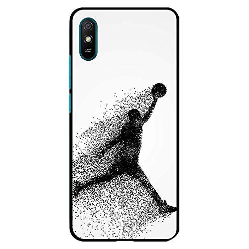 BJJ SHOP Funda Negra para [ Xiaomi Redmi 9A ], Carcasa de Silicona Flexible TPU, diseño : Jugador de Baloncesto Abstracto Saltando