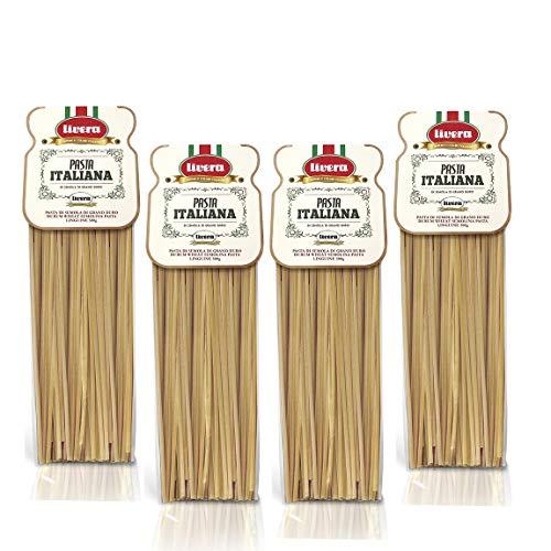 Livera Linguine 4 x 500 Gr, Lange Pasta von Hartweizengrieß 100% Made in Italy, Linguine Bronze Gezeichnet, Italienische Exzellenz, Hochwertige Getrocknete Handwerkliche Pasta, Kochen 12'
