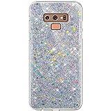Hpory Cover Samsung Galaxy Note 9 con Brillantini/Glitters, Custodia Brillante- Morbido Gel Caso Custodia in TPU - Back Case Antiurto Protezione Dust Resistant Bumper Cover, Argent