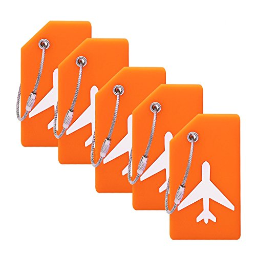 Silicone Luggage Tag With Name ID Card Perfect to Quickly Spot Luggage Suitcase (Plane 5Pcs Orange)