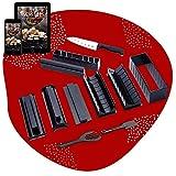 🍣 Luspo Kit Para Hacer Sushi- set Sushi/nori molde Completo + 50 Recetas Ofrecidas+guía de montaje - 12 Piezas -Con un Experto Cuchillo de Sushi, Cocina de Arroz - Accesorios de Cocina Japonesa