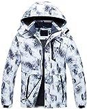 Mens Print Color Ski Jacket Waterproof Parka Winter Outerwear Snowboard Black White S