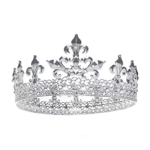 Silver Royal Full King Crown Metal Crowns and Tiaras for Men Prom King Party Hats Costume...