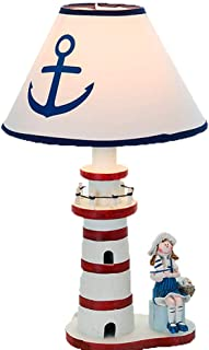 Bhnj Table lamp Mediterranean Style Wooden Lighthouse Children Bedside lamp Home Decoration Large,Red